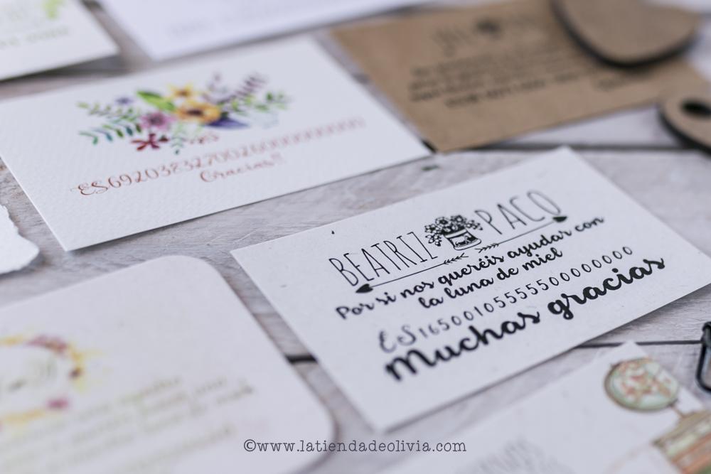 tarjetas con el numero de cuenta para listas de bodas