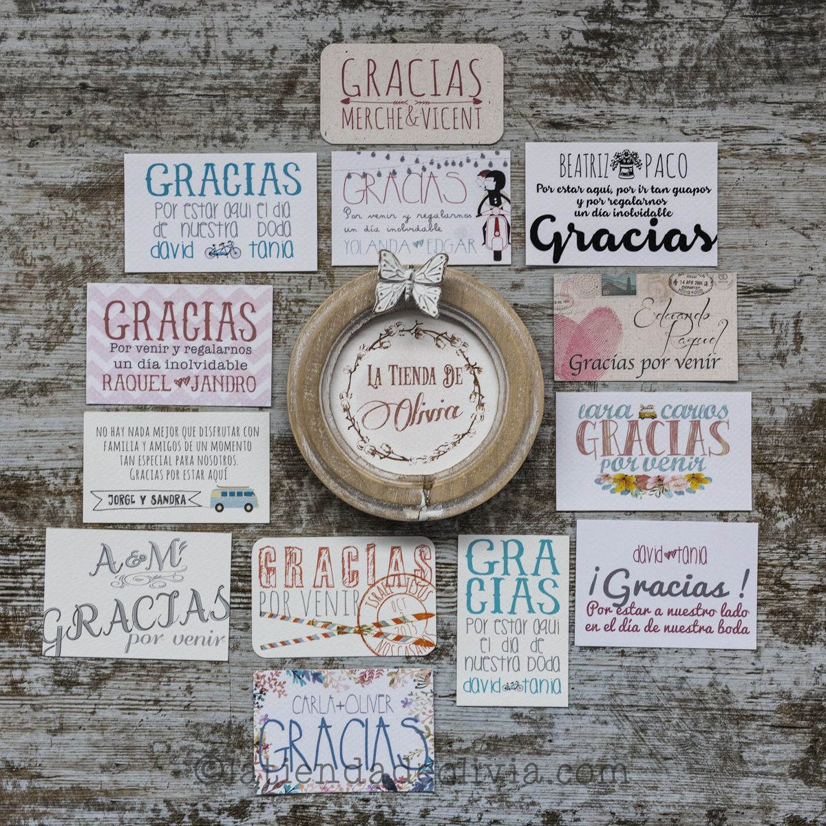 tarjetas de agradecimiento para bodas la tienda de olivia