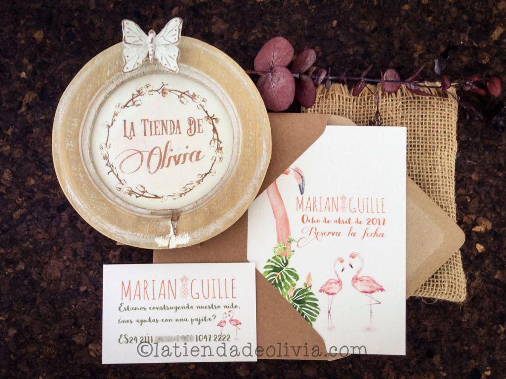 Invitaciones de boda tropicales originales con flamencos y tarjeta con cuenta bancaria a juego