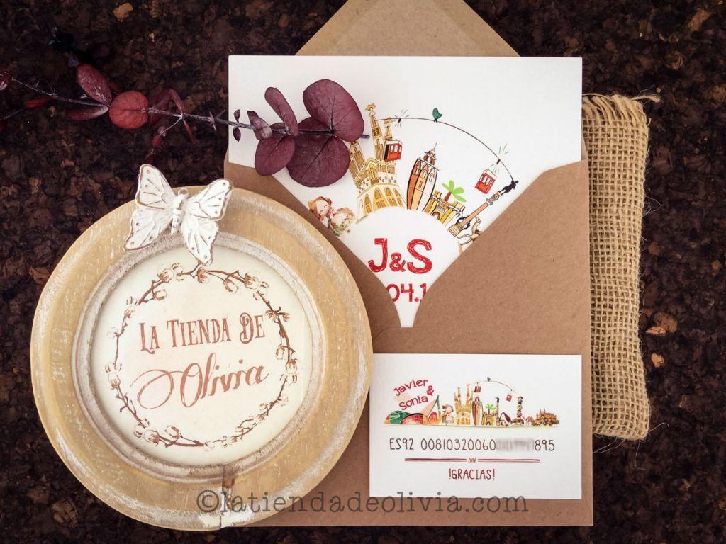 Invitaciones de boda personalizadas con edificios de ciudades y tarjeta con número de cuenta a juego