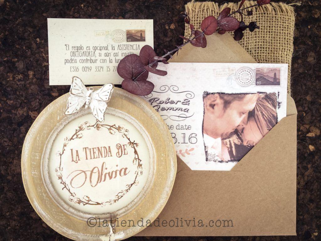 Invitaciones de boda vintage con foto y tarjeta con cuenta bancaria a juego
