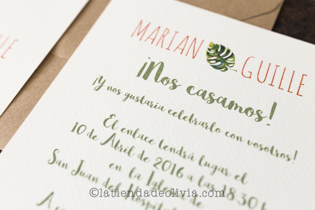 invitaciones de boda tropicales con seating plan y minutas a juego