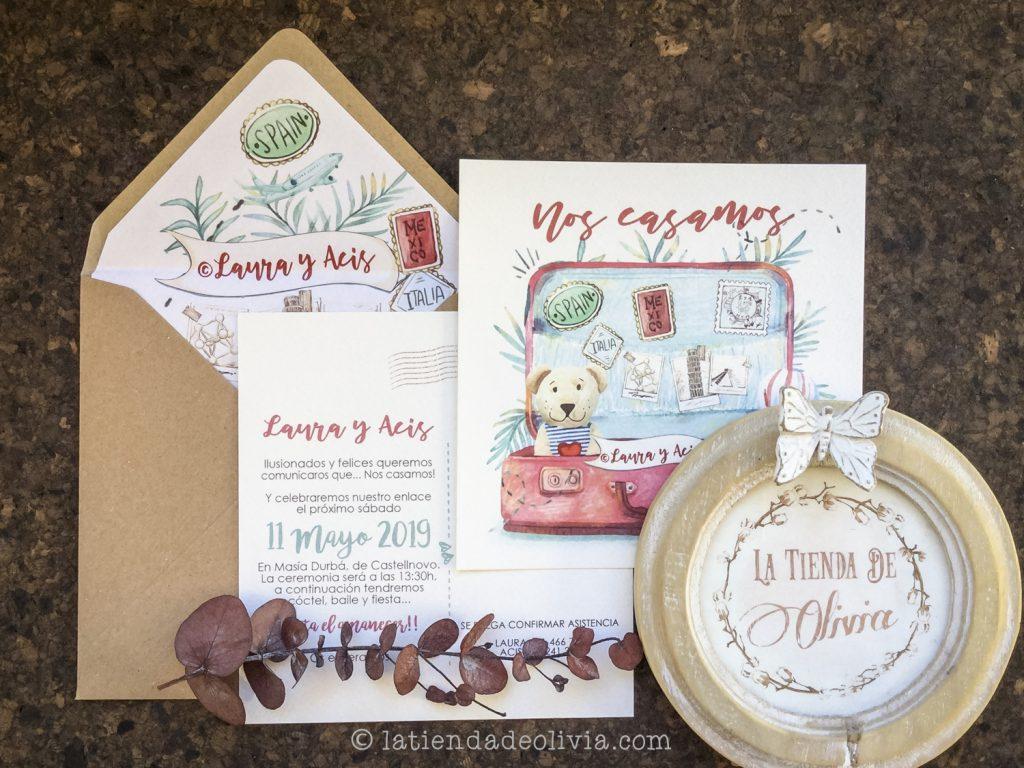 Invitaciones de boda viajeras