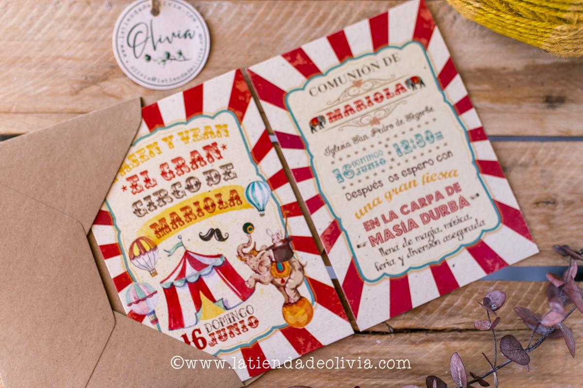 Invitaciones de comunion circo