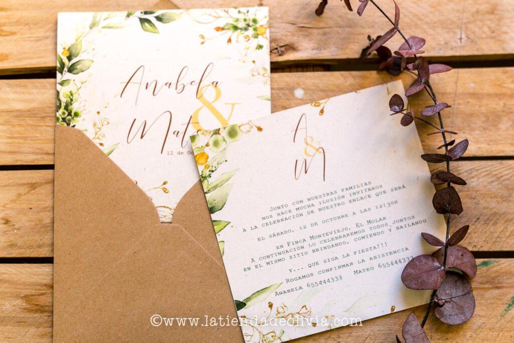 Invitaciones de boda elegantes, Xàtiva