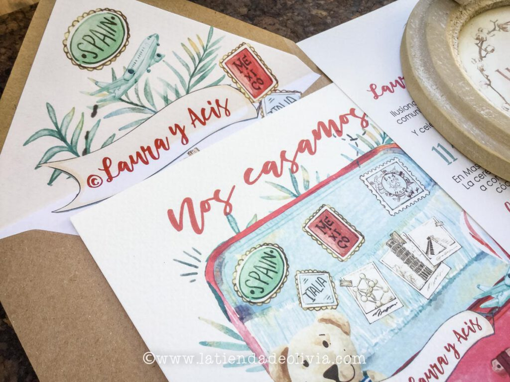 Invitaciones, tarjetas boda viajeras