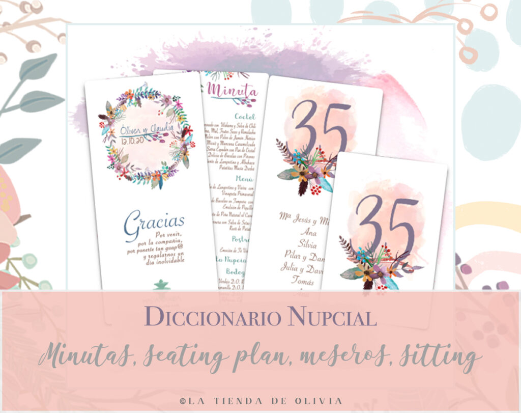 minutas y seating plan bodas
